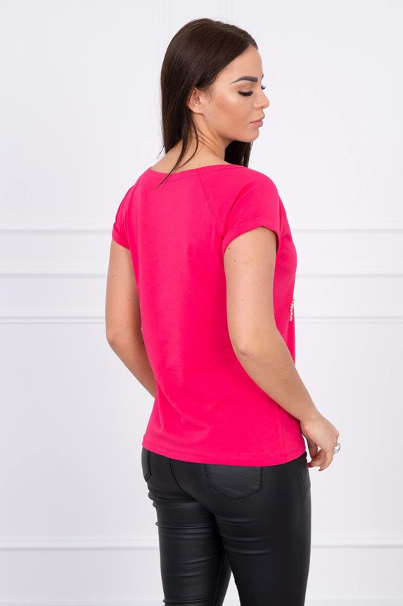 Blouse with decorative stones fuchsia