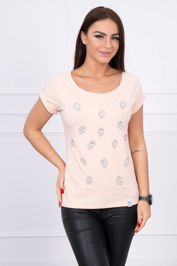 Blouse with decorative stones peachy