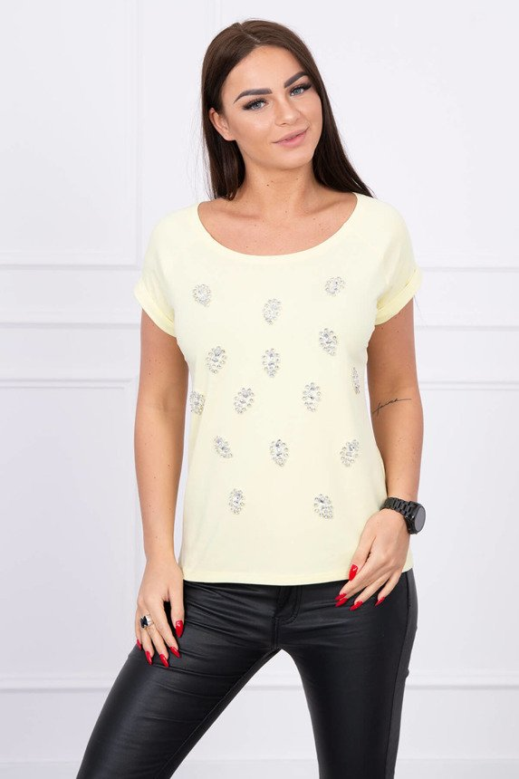 Blouse with decorative stones yellow