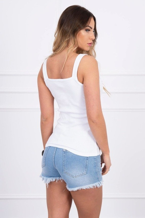 Blouse with fastened shoulder straps white