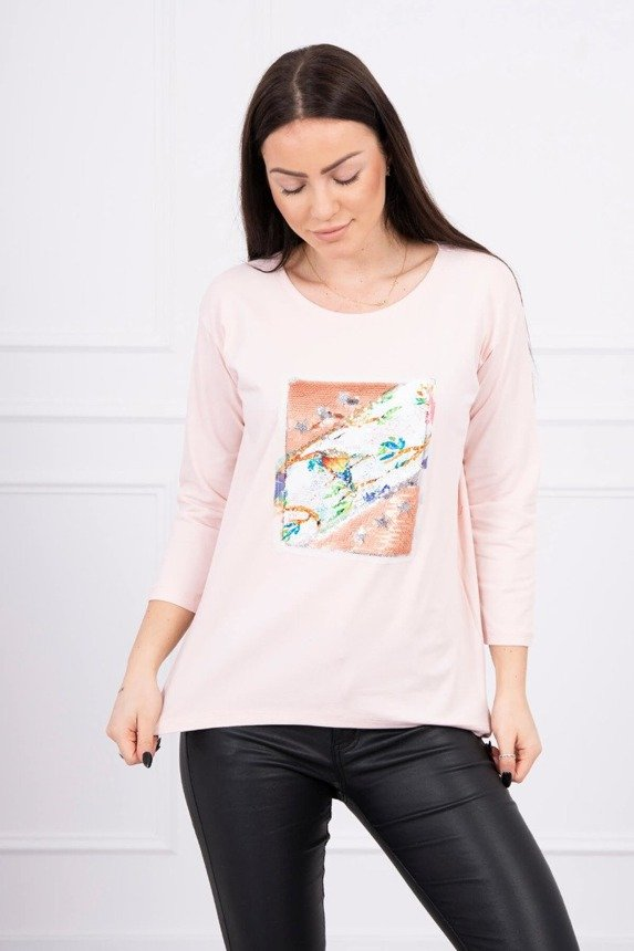 Blouse with graphics 3D Bird powdered pink