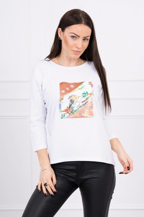 Blouse with graphics 3D Bird white