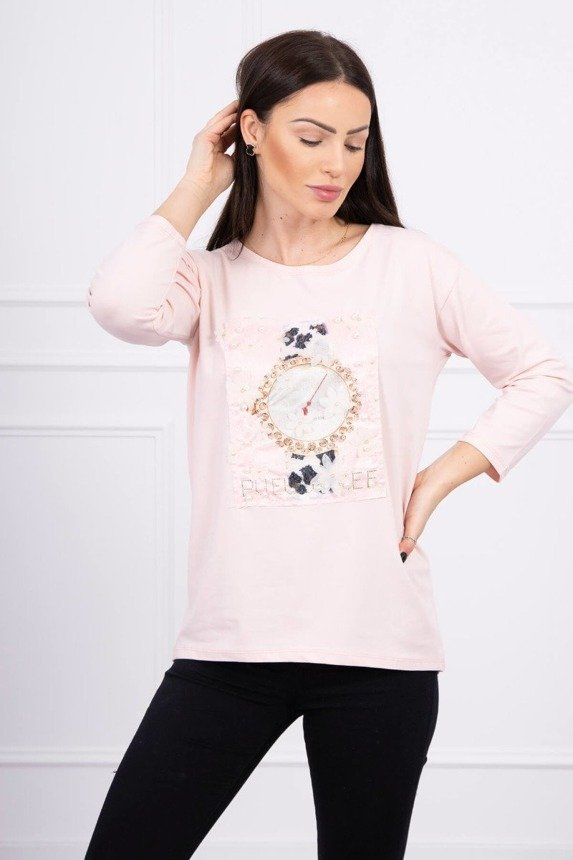 Blouse with graphics 3D with pearls powdered pink