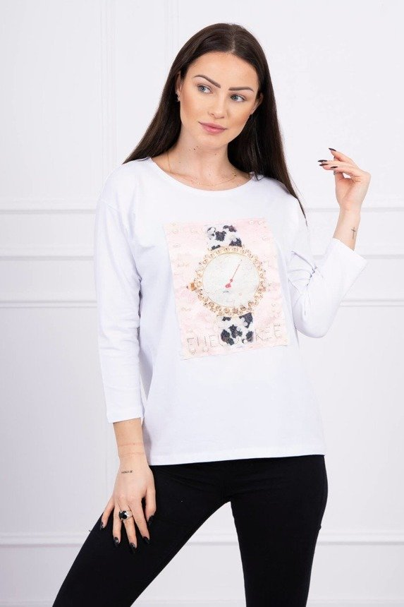 Blouse with graphics 3D with pearls white