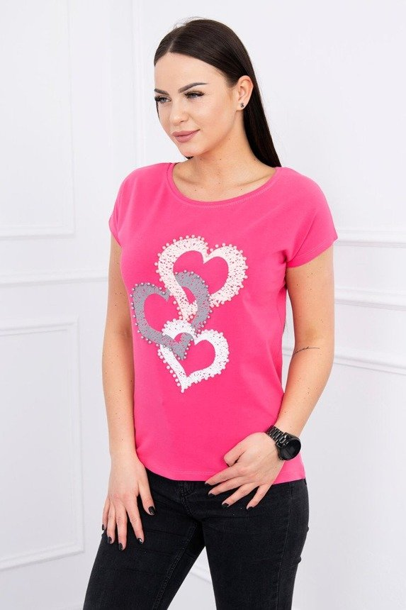 Blouse with imprint of three hearts fuchsia