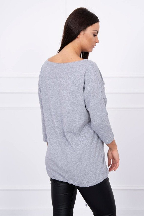 Blouse with inscriptions and heart gray