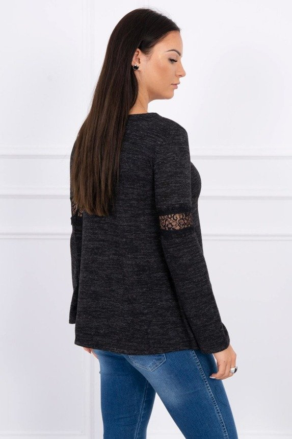 Blouse with lace insert on the sleeves black
