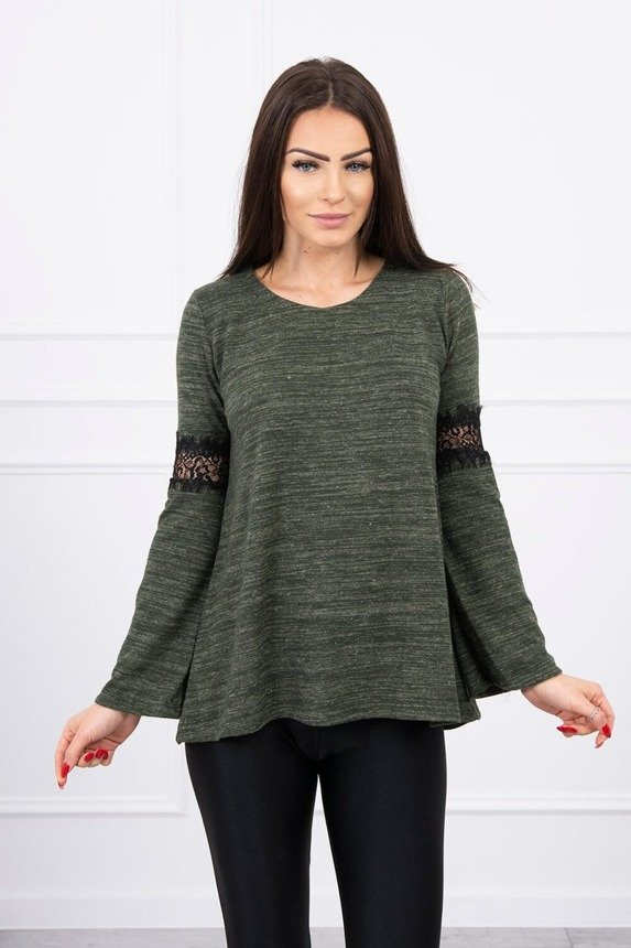 Blouse with lace insert on the sleeves khaki