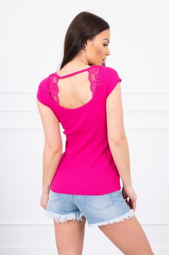 Blouse with lace neckline fuchsia