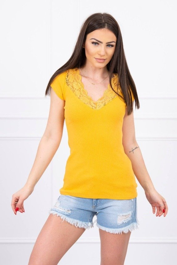 Blouse with lace neckline mustard