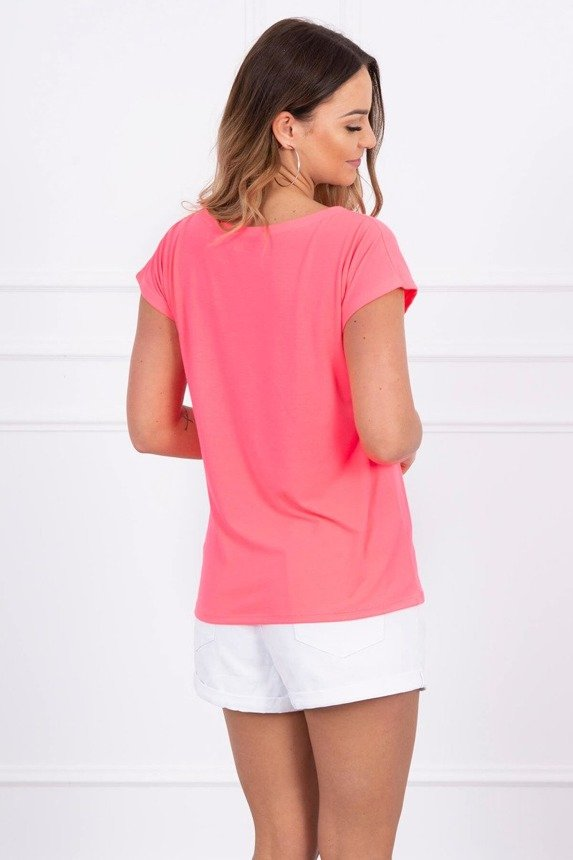 Blouse with lips print pink neon
