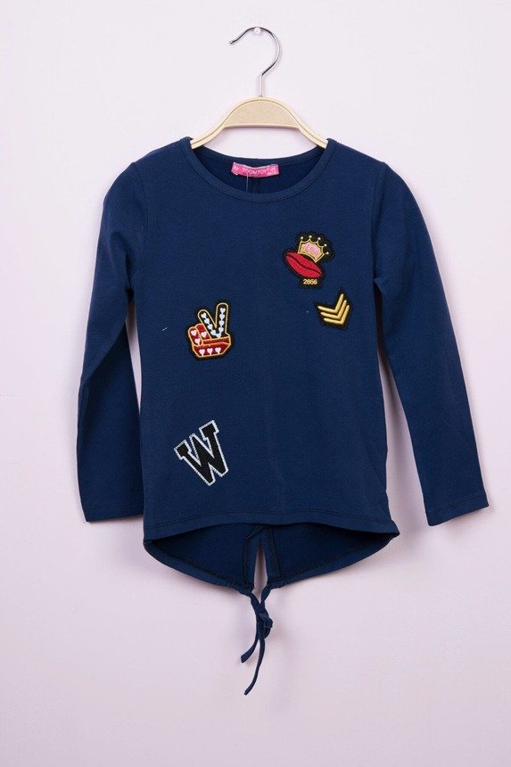 Blouse with patches navy blue (4 pcs.)