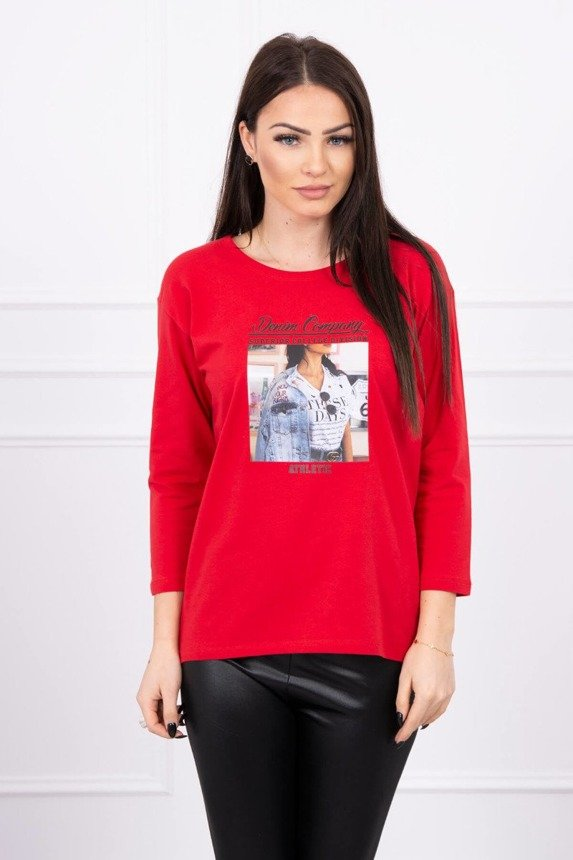 Blouse with print Collage red