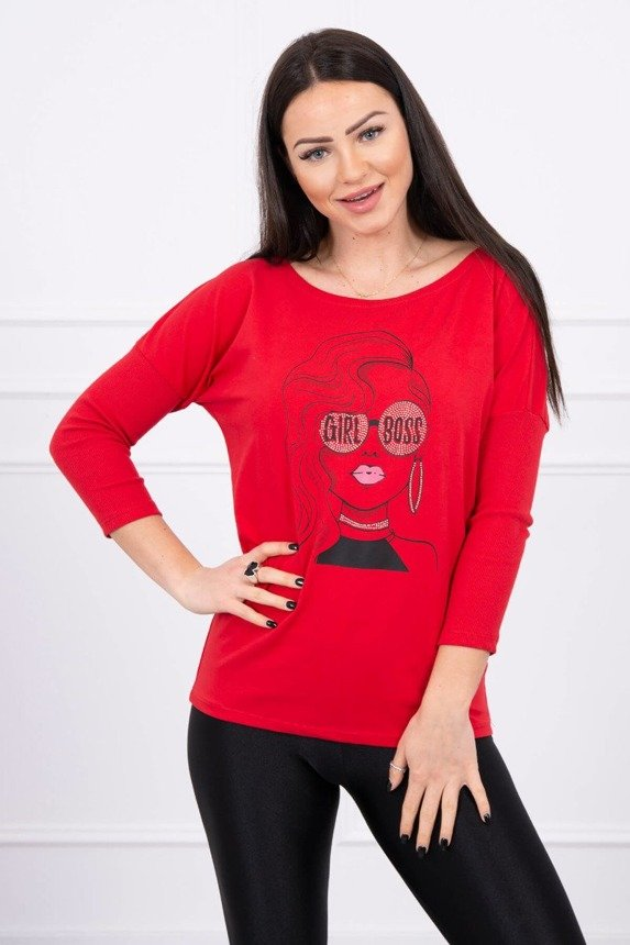 Blouse with print Girl Boss red S/M - L/XL
