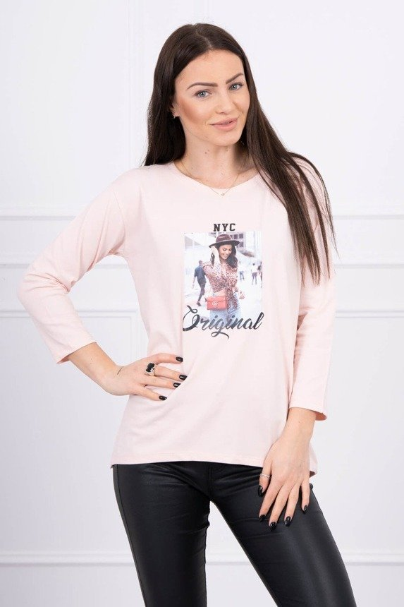 Blouse with print Original powdered pink