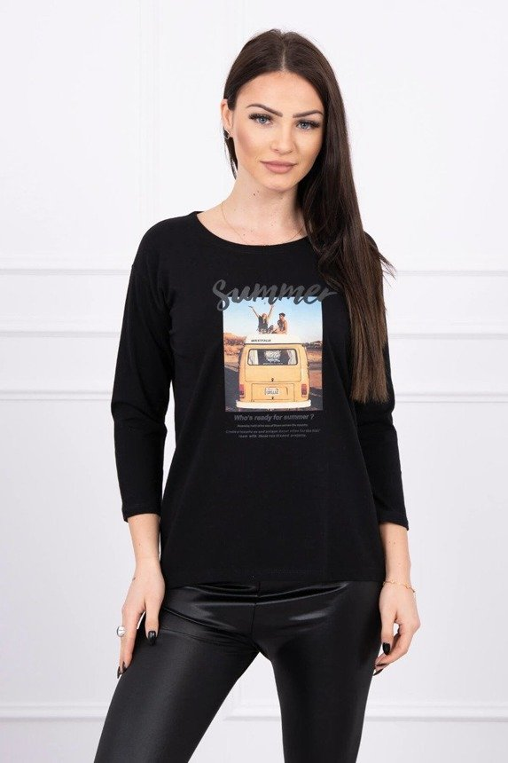 Blouse with print Summer car black