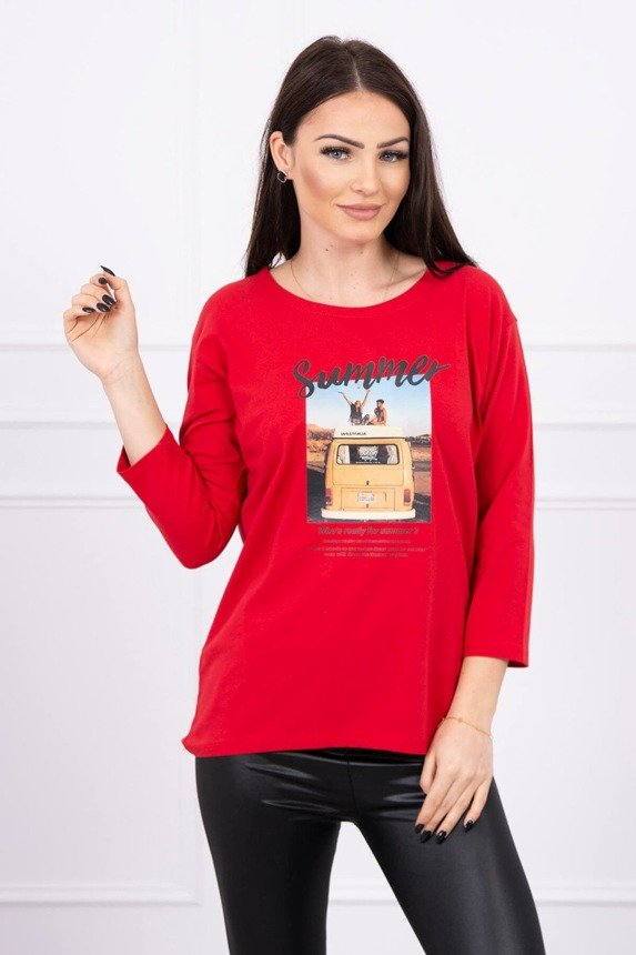 Blouse with print Summer car red