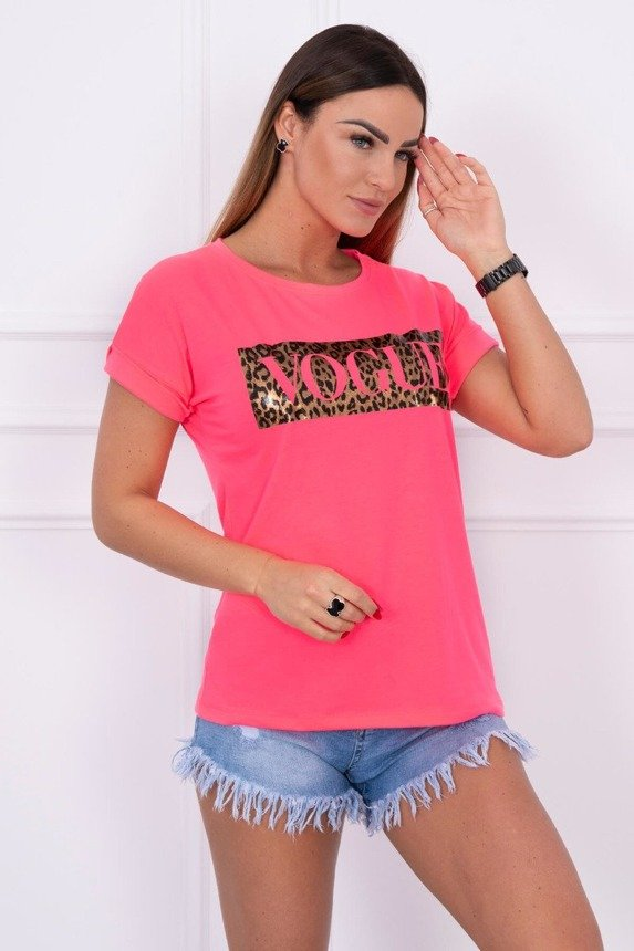 Blouse with print Vogue pink neon