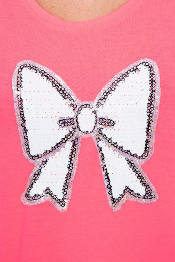 Blouse with sequin bow pink neon