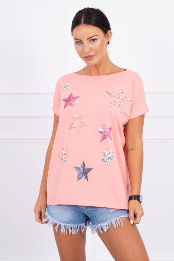 Blouse with stars and pearls apricot