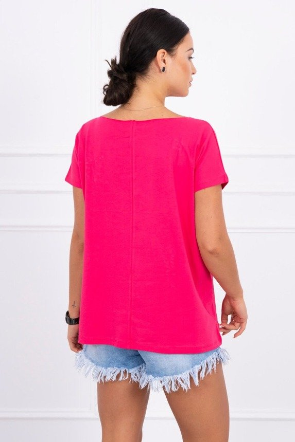 Blouse with stars and pearls fuchsia