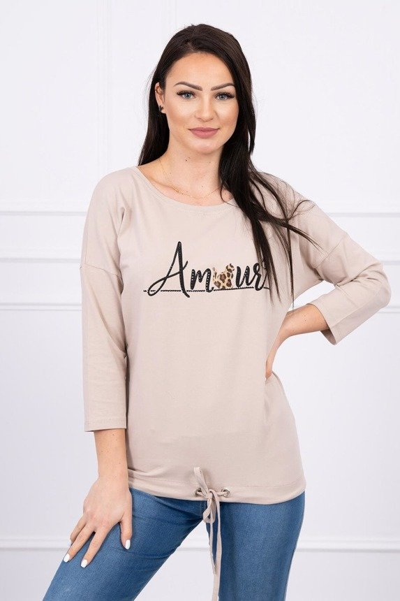 Blouse with the inscription Amour beige S/M - L/XL