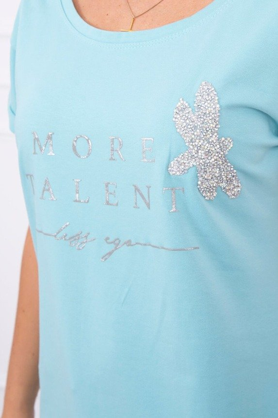 Blouse with the words More Talent mint