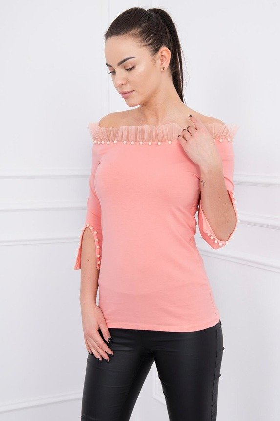 Blouse with tulle and pearls apricot