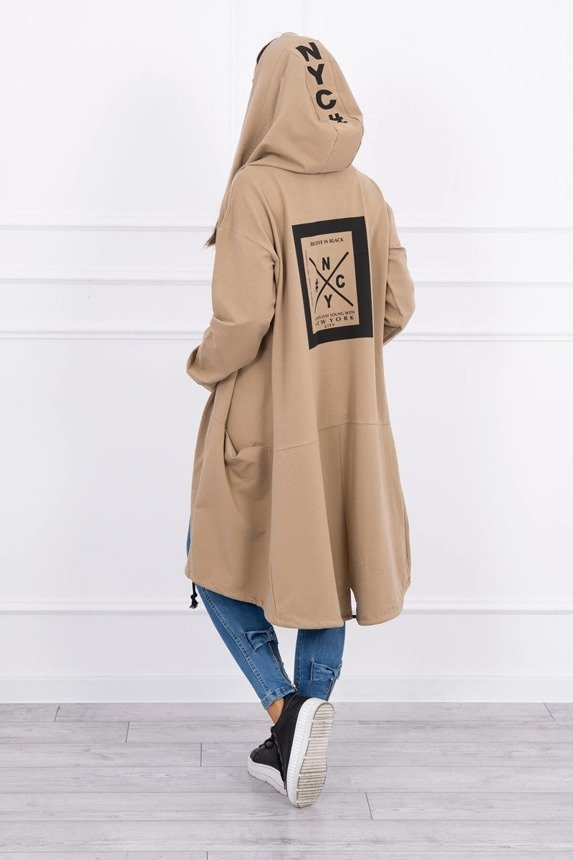 Cape with a hood oversize camel