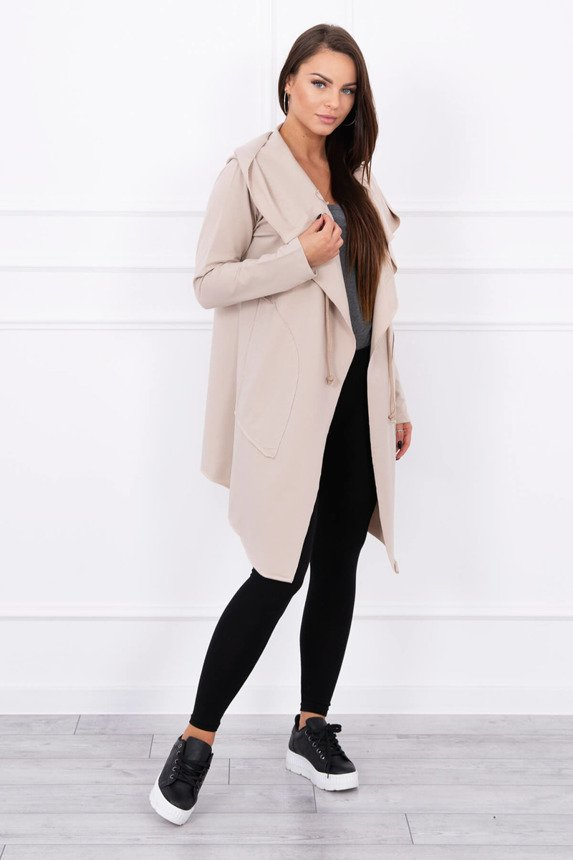 Cape with a loose hood beige