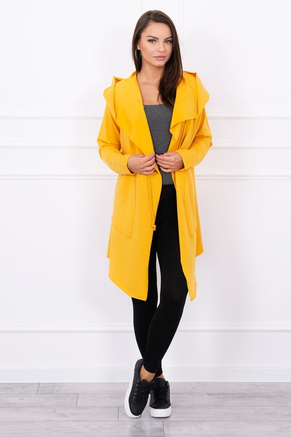 Cape with a loose hood mustard