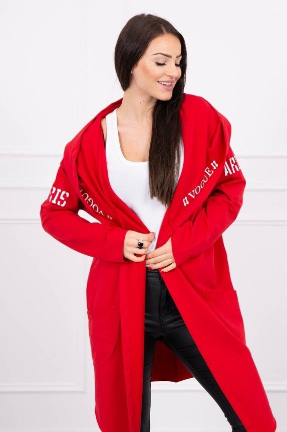 Cardigan with Paris inscription Oversize red