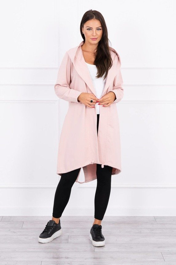 Cardigan with print oversize dark powdered pink