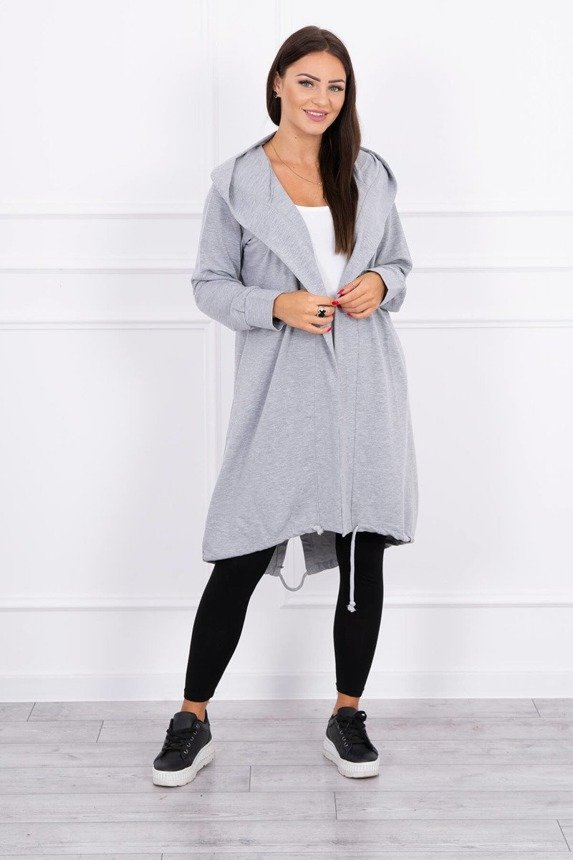 Cardigan with print oversize gray
