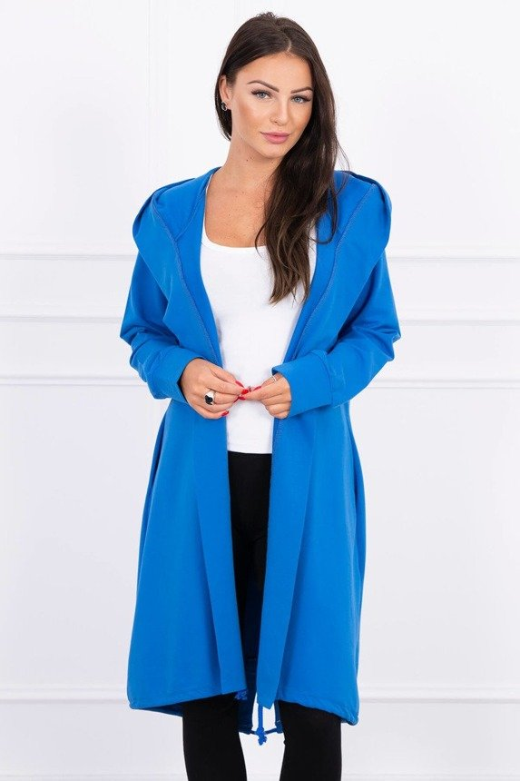 Cardigan with print oversize mauve-blue