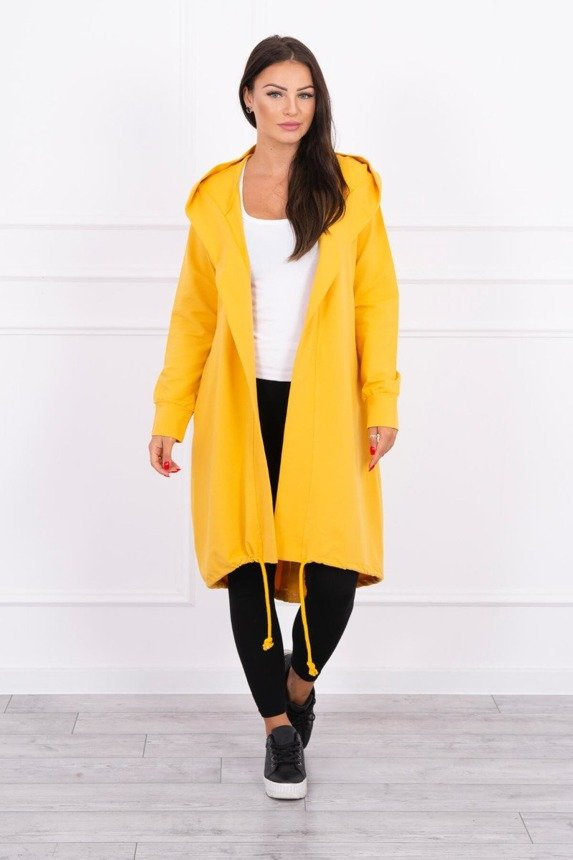 Cardigan with print oversize mustard
