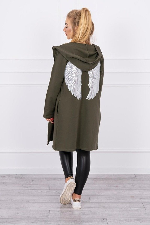 Cardigan with sequin wings Plus Size khaki