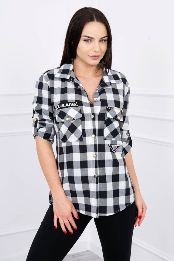 Checked blouse Army black+white