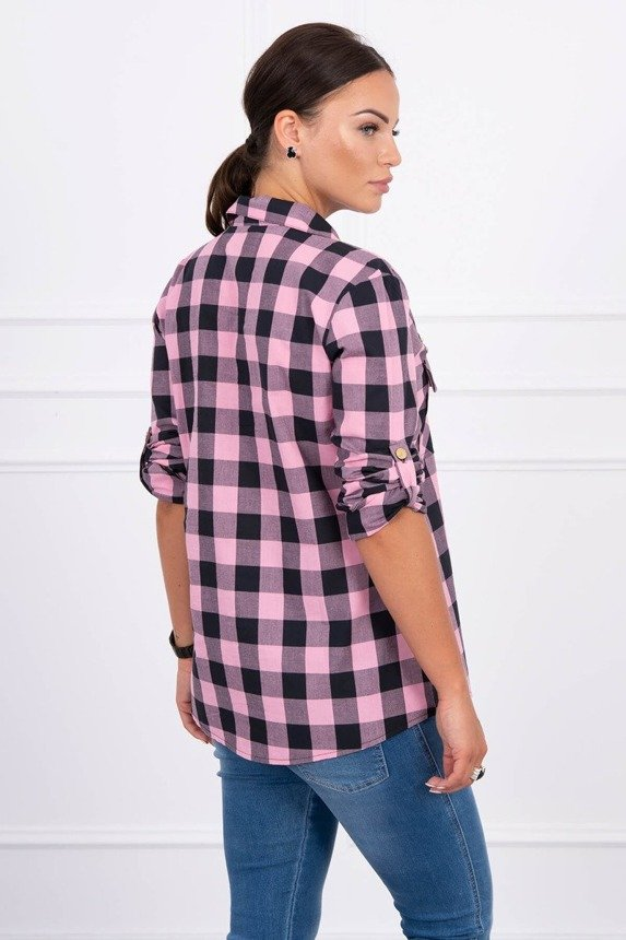 Checked blouse Army pink+black