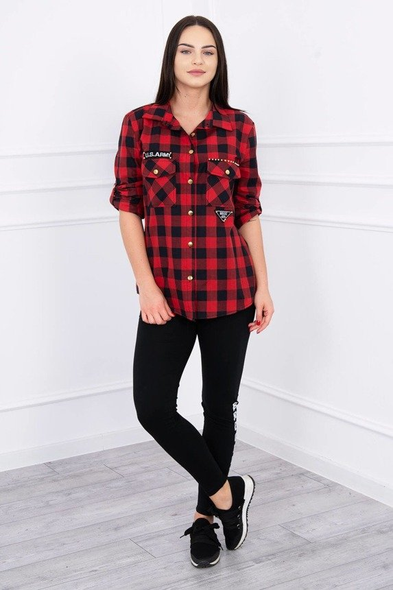 Checked blouse Army red+black