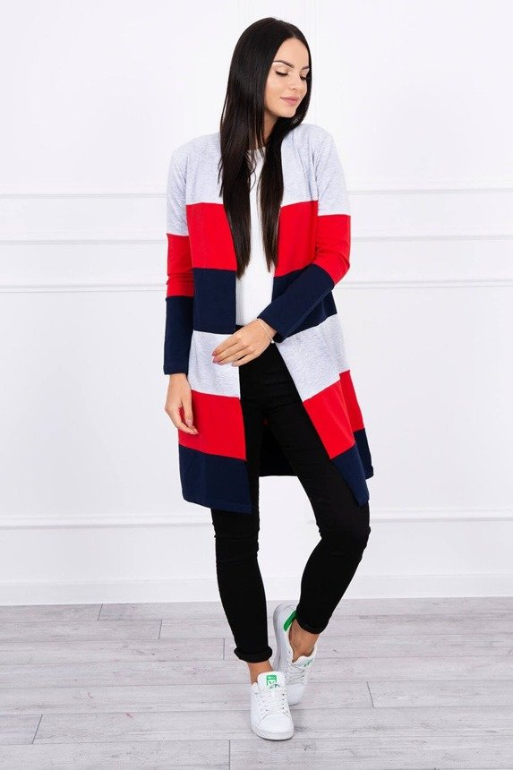 Coatee three-colored gray+red+navy blue