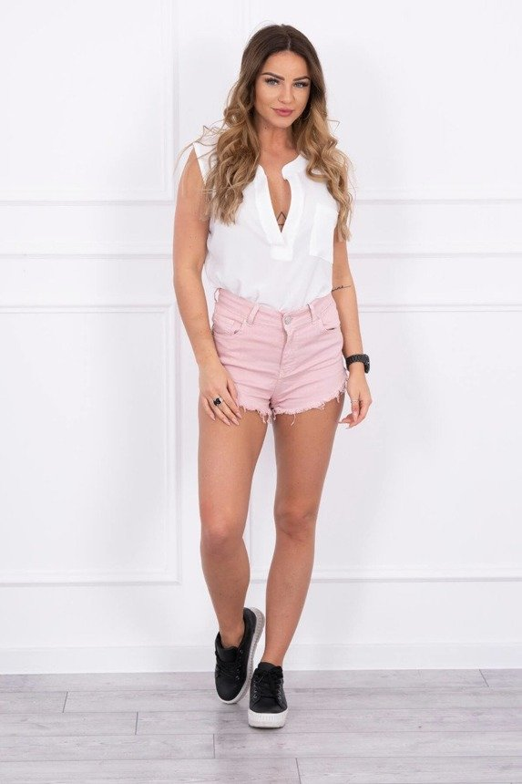Colorful denim shorts ragged powdered pink