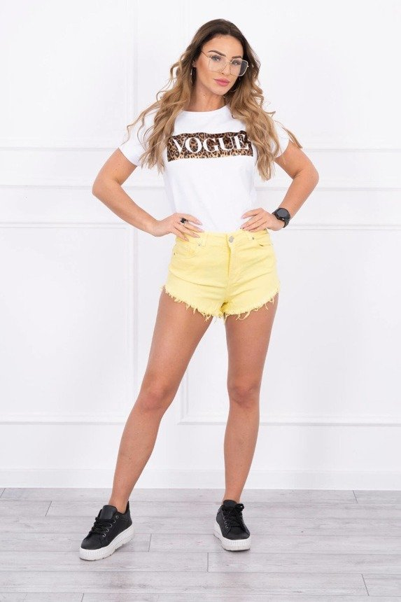 Colorful denim shorts ragged yellow