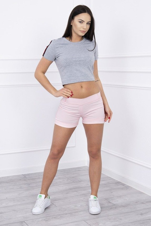 Colorful jeans shorts powdered pink