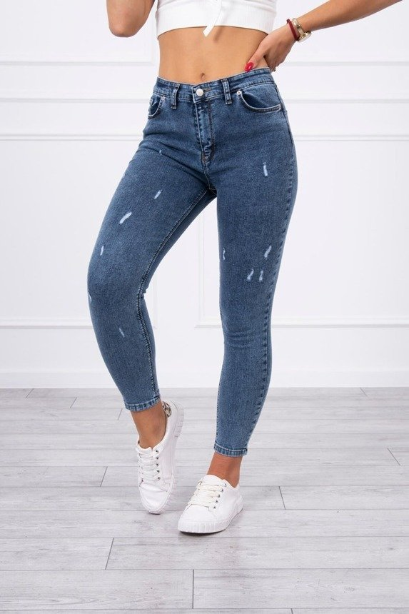 Distressed marble jeans trousers
