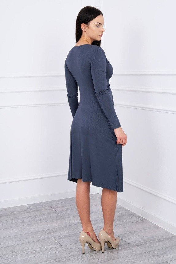 Dress cut under the bust, long sleeve grafit
