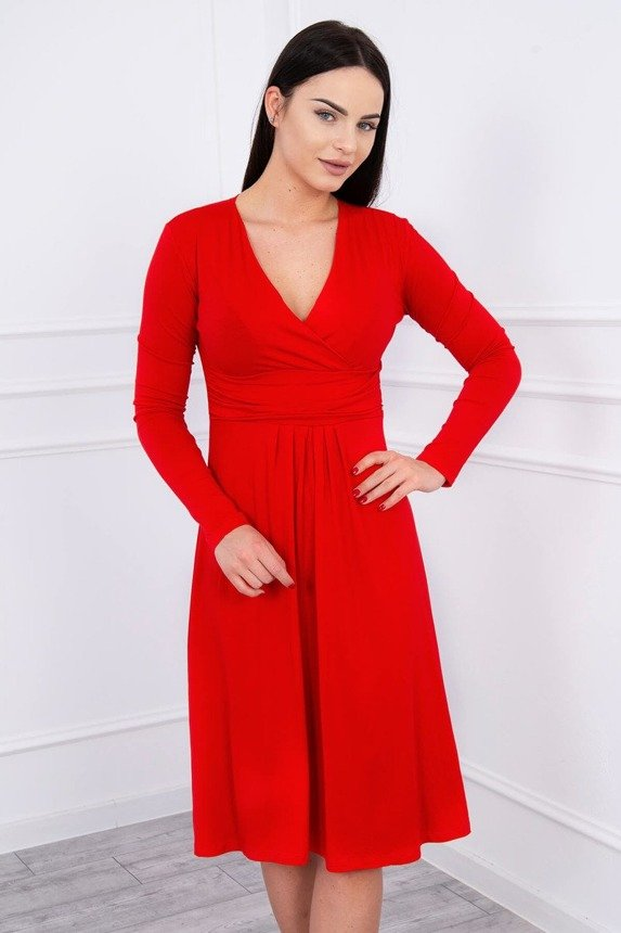 Dress cut under the bust, long sleeve red
