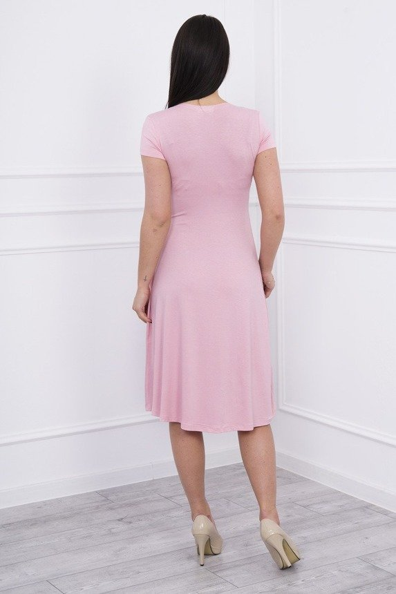 Dress cut under the bust, long sleeve, short sleeve powdered pink