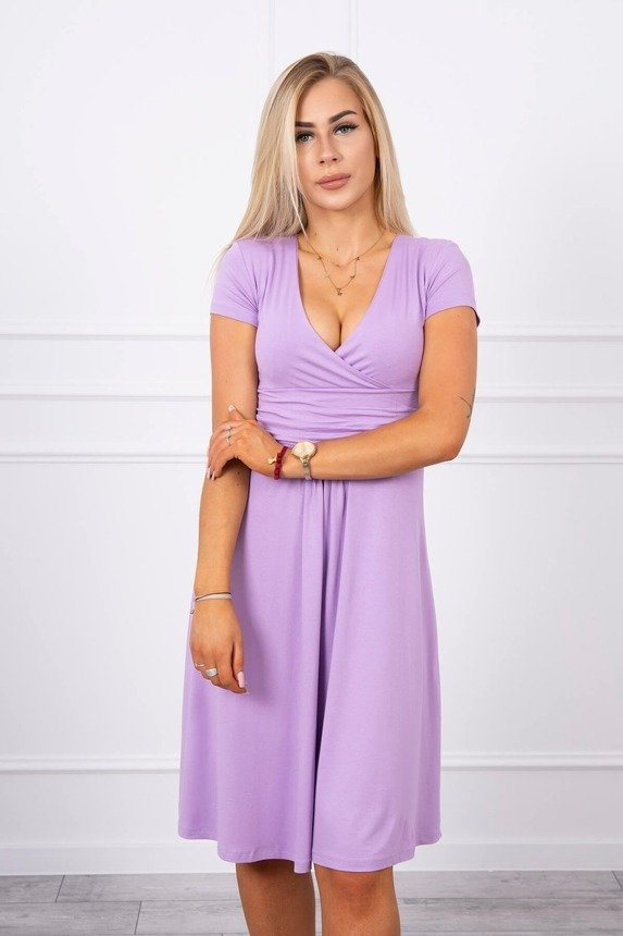 Dress cut under the bust, long sleeve, short sleeve purple