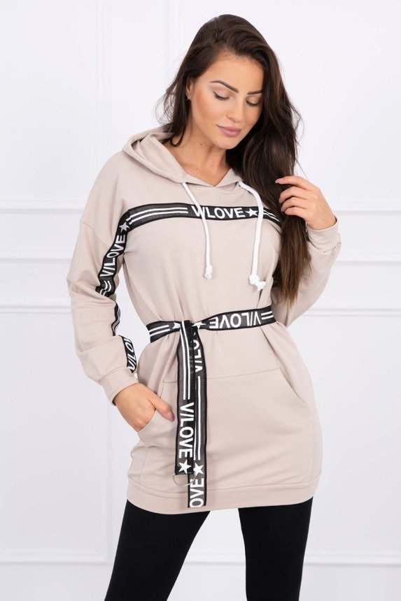 Dress decorated with tape with inscriptions beige